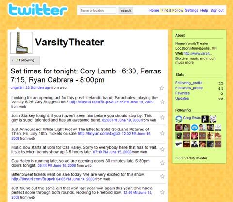 twitter varsity theater
