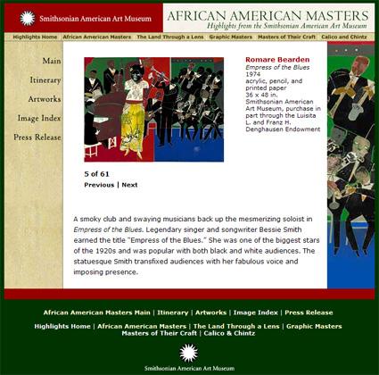 screenshot african american masters - onlineausstellung des smithsonian american art museums