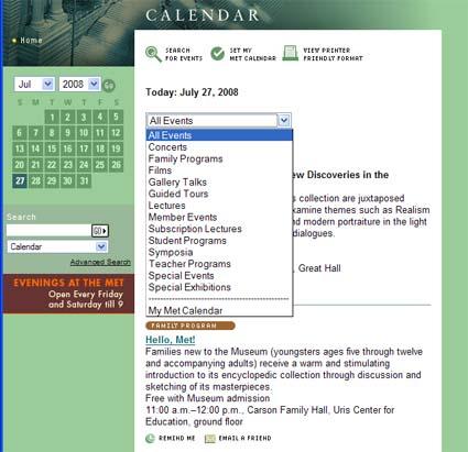 screenshot veranstaltungskalender metroplolitan museum of art