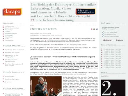 dacapo blog der duisburger philharmoniker - screenshot