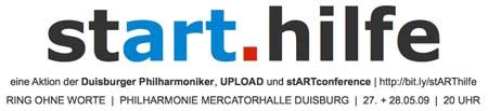 stART.hilfe: Klassik-Konzert genießen + gleichzeitig Web-Kunst unterstützen;  Aktion der Duisburger Philharmoniker, der stARTconference + dem UPLOAD Magazin
