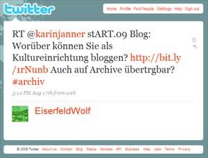 Gibt es bloggende und twitternde Archive? Was schreiben die? Was könnten sie schreiben?