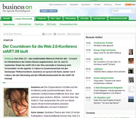 """Der Countdown für die stART.09 läuft"" - Interview für business on"