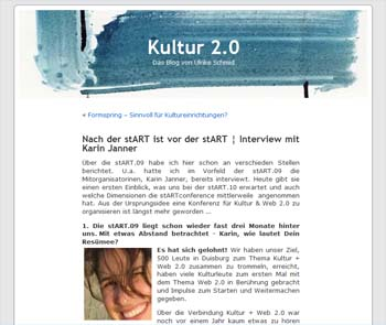 Blog Kultur 2.0 / Ulrike Schmid Screenshot