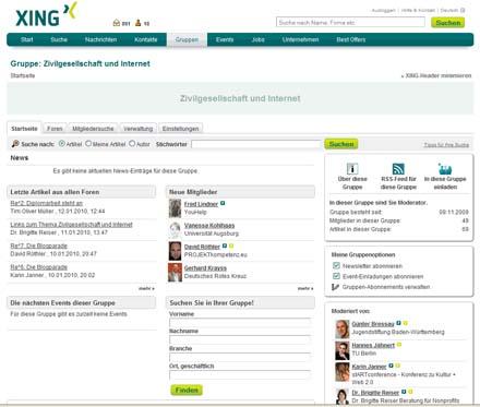 Screenshot Xing-Gruppe Zivilgesellschaft und Internet